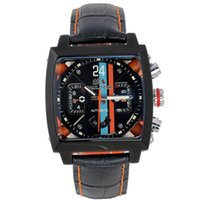 Wholesale see through leather - Wholesale-Men Automatic Self Wind Mechanical Stainless Steel Black Orange Genuine Leather Strap Blue Sports 40mm See Through Watch
