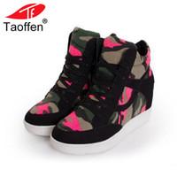 koreanische höhenschuhe großhandel-TAOFFEN Frauen Camo Plateaustiefel Schnürung Höhe Zunehmende Schuhe Runde Toe Canvas Botas Korean Knöchel Schuhe Größe 35-40