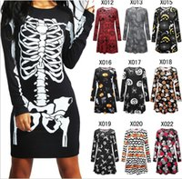 Wholesale women pumpkin - Halloween Pumpkin Skull printed Dress Pumpkin Skull Web Printed Halloween Mini Swing Dress Top Maternity casual Dresses FFA593 20PCS