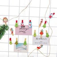 ingrosso foto carine di natale di natale-Cute Cartoon Christmas Clip di legno Set Mini clip decorative con corda Clip di immagini colorate per Photo Frame Wall Decoration Kids Love