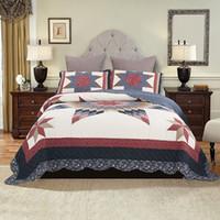 одеяло ручной работы оптовых-Американский покрывало ручной лоскутное одеяло Набор 3 шт. стеганые постельные принадлежности хлопок одеяла покрывала супер Король Королева размер покрывало