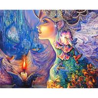 figure des femmes d'art achat en gros de-Fleur Fée Diamant Peinture Femme Faveurs De Mariage Pour Invité Cadeau DIY Résine Carré Forage Arts Artisanat Décor À La Maison 36zx bb