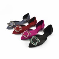 Wholesale Crystal Slip - New Fashion Women Flats Fashion Luxury Crystals hollow shoes Spring and summer outdoor shoes free shopping