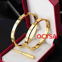 Wholesale 14k gold mens - AAA Designer Silver Rose Gold Plated 316L Stainless Steel Screw Men Love Belt Bangle Screw driver Luxury Mens Bracelets Original Box