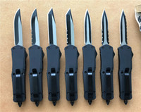 Wholesale Auto Gear Tools - Black Small A07 D A auto knives Custom knife 440C two-tone blade mini Tactical tool survival gear Cypher 7 blade styles