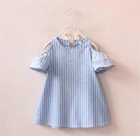 vestidos de lineas verticales al por mayor-Las muchachas faldas vestido de rayas verticales fuera del hombro niñas vestidos de niños faldas de una línea de ropa de las muchachas envío gratis