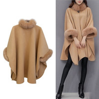 tilki yünlü palto toptan satış-Balıkçı yaka Kore Kış Yün Ceket Pelerin Gevşek Fox Kürk Yaka Uzun Yün Deve Lüks Şal Coat Kadın Sıcak Düğme Artı Boyutu