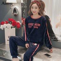 mulheres conjuntos de pijama de inverno venda por atacado-Boa qualidade Grosso Quente Pijama de Flanela conjunto Feminino Inverno Mulheres pijama Coral Velvet Fora Homewear Sleepwear Womens Clothing