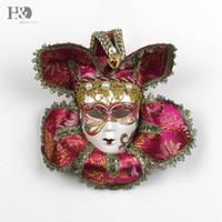 Wholesale mask for wall - H&D Jester Joker Full Face Women Masquerade Decorative Venetian Party Mask Masquerade Mardi Gras Wall Decor Art Collection