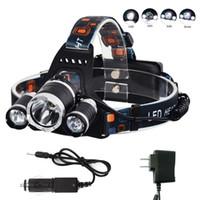 ingrosso luminose luci nascoste-Proiettori a led Boruit 5000 Lumen Super Bright 3X XML T6 Faro anteriore 18650 Head Light Lamp con caricatore da auto