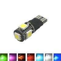 led amarillo intermitente al por mayor-T10 W5W estroboscópico intermitente rápido / siempre en 2 modos 5 SMD 5050 LED iluminador lateral de bulbo del coche lámpara de domo 12V 7 colores