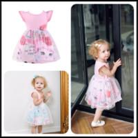 Wholesale Girl Birthday Tutu Outfits - Mikrdoo 2018 Summer Baby Girl tutu Dress Cotton Sleeveless Dress Unicorn Outfits Lace party birthday Dress Clothes