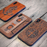 Wholesale design iphone hard case online – custom Fashional Various Design Wood Phone Cases For Iphone Accessories X s Plus Real Bamboo Wooden Bumper Hard Cases Cover For Samsung
