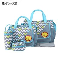 Wholesale mom bag set - MOTOHOOD 5pcs Baby Diaper Bags For Mom Changing Nappy Bag Sets Mommy Baby Care Carriage Stroller Bag Organizer 30*43*14cm
