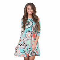 Wholesale plus size womens summer clothing for sale - National wind dresses for womens floral printing casual women clothes african party dress seven sleeve pocket plus size summer dresses