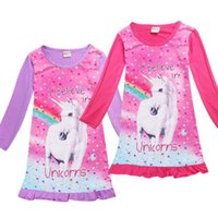 Wholesale Pajamas Long Sleeve Baby Sleepwear - Baby Girls Unicorn Dress Long Sleeve Children Princess Dress Animal Pattern for Kids Sleeping Nightdress pajamas sleepwear Dresses