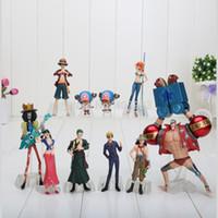 figuras de una pieza de helicóptero al por mayor-10 unids / set 4-18 cm Anime One Piece Figuras Muñecas Juguetes 2 años después Luffy Sanji Zoro Brook Chopper Nami Franky modelo juguetes
