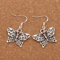 ingrosso farfalla bianca d'argento-Argento 925 Gancio per l'orecchio di pesce Argento antico Bianco Peacock Butterfly Orecchini Lampadario 30 paia / lotto 37X25mm E1128