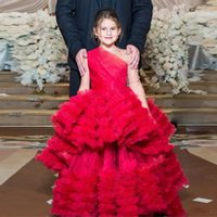 vestido princesa princesa venda por atacado-Exclusivo Red Princess Little Girls Pageant Vestidos de Um Ombro Manga Longa Ruffles Saia Lantejoulas Meninas Queque Aniversário Vestidos Da Criança