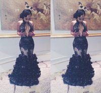 ingrosso abiti da sera arabi per le donne-2019 Sexy Mermaid Black Lace Prom Party Dresses Sexy Keyhole Neck Backless Flouncing Ruffles Arabic Gowns Women Evening Pageant Runway
