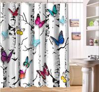 tejido de mariposa de dibujos animados al por mayor-Hermosas mariposas y flores Retro Cartoon Custom cortina de ducha tela cortina de baño a prueba de agua MÁS SIZE SQ0422-LQS78