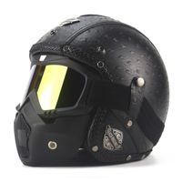 Wholesale chopper helmets for sale - New Retro Vintage Motorcycle Helmet Synthetic Leather Moto Helmet Cruiser Touring Chopper Open Face DOT Glasses Mask