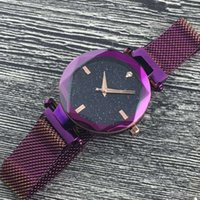 Wholesale women watches luxury sale resale online - 2018 New Hot Sale Purple Blue Black Gold Brown Magnetic Women Watch Fashion Luxury Steel Famous Design Watch With Starry sky Dial