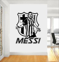 ingrosso adesivi 3d vivaisti-Football Star Quote Messi Wall Stickers Art Room Decalcomanie Smontabili DIY Wall Stickers Per Ragazzi Room Nursery Home Decor Murale A394