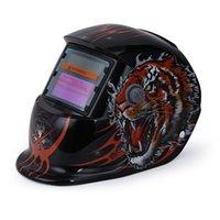 poder de la máscara al por mayor-Tiger Pattern Solar Power Soldadura Máscara de casco Eléctrica MIG MMA Skull Mask Oscurecimiento automático Máscara protectora de soldadura / Casco / Soldador