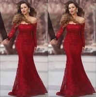 ingrosso abito da sposa abito sirena-Abiti da sera lunghi eleganti da cerimonia con maniche lunghe a sirena in pizzo rosso arabesco