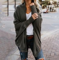 lose gestrickter kragen großhandel-Neue Herbst Winter Schal Kragen Strickpullover Mode 2018 Frauen Solide 9 Farben Langarm Lose Weibliche Strickjacken FS5844