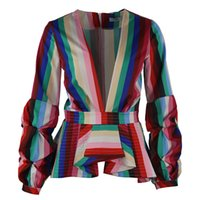 Wholesale Office Tops For Ladies - New Rainbow Stripe Peplum Tops for Women Long Puff Sleeve Deep V Neck Fashion Office Ladies Blouse Shirts Plus Size 5XL 4XL 3XL
