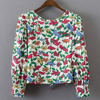 encimeras largas al por mayor-Blusas de las mujeres Casual elegante OL Floral blusa Slim manga larga Work Wear Blusas Feminina Tops Camisas