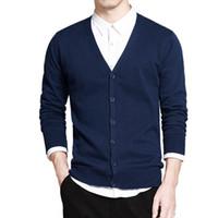 ingrosso maglione lungo del manicotto-Maglione in cotone da uomo a maniche lunghe Cardigan Uomo con scollo a V Maglioni a maniche lunghe Button Fit Knitting Casual Style Abbigliamento nuovo