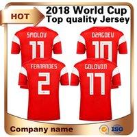 ingrosso jersey russia-2018 World Cup Russia Soccer Maglie Home Red # 10 DZAGOEV 11 # SMOLOV Soccer Shirt Manica corta Calcio divise personalizzate