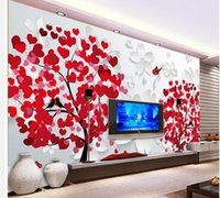 Wholesale designer for home decor for sale - Group buy wall papers home decor designers Red heart leaf tree three dimensional flower simple fashion background wall