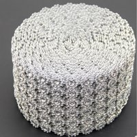 Wholesale Crystal Blue Candy - Silver Diamond Rhinestone Flower Mesh Wrap Roll Crystal Rhinestone Sparkle Ribbon DIY Cake Roll Wedding Party Decor