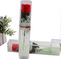 blumenartikel großhandel-PVC Box Neue Kreative Rose Blume Seife Handgemachte Rose Hochzeit Valentinstag Rose Blume Weihnachten Geburtstag Geschenkartikel Blütenblatt Papier Seife