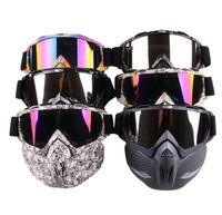 Wholesale motor mask for sale - Ski Bike Motorcycle Face Mask Goggles Motocross Motorbike Motor Open Face Detachable Goggle Helmets Vintage Glasses Universal