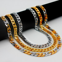 Wholesale Thick Steel Chain - Miami Cuban Chains For Men Hip Hop Jewelry Wholesale Gold Color Thick Stainless Steel Long Big Chunky Necklace Gift