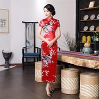 Wholesale long sleeve chinese dresses cheongsam - Shanghai Story Faux Silk Qipao Long Chinese Dress vintage chinese style dress Chinese Oriental dress Peacock Print cheongsam