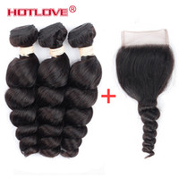 Wholesale Free Black Hair Products - India Virgin Hair Loose Wave Indian Human Hair Weave 3 Bundles with Closure 4*4 Free Part with Baby Hair Natural Black Good Products