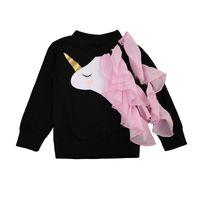 familie zusammenpassende sweatshirts großhandel-Baby-Mama-Einhorn-Sweatshirts, die Familien-im Freien langärmlige schwarze Rüsche-Krausen-Einhorn-Jacke zusammenbringen, scherzen erwachsene Kleidung Pullover