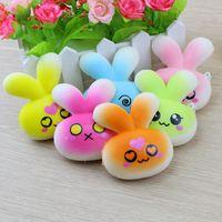 Wholesale squishy bunny - Colorful Rabbit Emoji Squishy Toys Jumbo Soft Slow Rising Bunny Squeeze Phone Charms Keychain Kids Gift