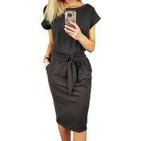 hat elbiseleri diz boyu kolları toptan satış-2018 Yeni Yaz Kadın Elbise Diz Boyu Seksi Bandaj Bodycon Elbise Kısa Kollu Günlük Elbiseler Sundress Femme ONY0789