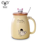copo de café dos desenhos animados 3d caneca venda por atacado-Caneca de cerâmica 3D copo dos desenhos animados caneca de café com tampa de bambu colher pet bonito presente de natal sorte copo