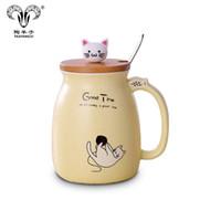 haustier keramik großhandel-Keramische Schalenkatze der Karikatur 3D überfällt Kaffeetasse mit bambusfarbenem Haustier-Weihnachtsgeschenk-glücklicher Schale des Bambusdeckellöffels