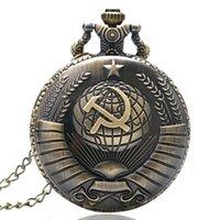 como relojes al por mayor-Reloj de bolsillo del cuarzo del diseño del martillo de Hoz soviético de alta calidad para los hombres Relojes del Fob de los hombres para cada uno que usted tenga gusto