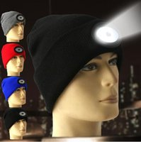 Wholesale sport beanie hats for sale - 6 LED Headlamp Beanie Cap Rechargeable Lighted Hat With LED Head Light Flashlight For Outdoor Evening Sport Camping Party Hats OOA5646