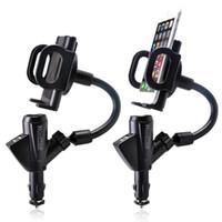 suporte do isqueiro do carro venda por atacado-Carregador duplo do suporte do suporte do isqueiro do carregador do carro de USB com suporte do telefone